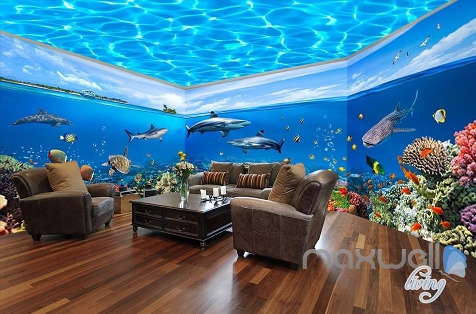 Fish tank ocean park theme space entire room wallpaper
