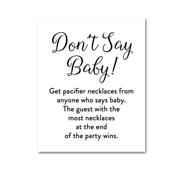 photograph about Free Don't Say Baby Printable identify Free of charge Printable Boy or girl Shower Stylish Easy Black and White