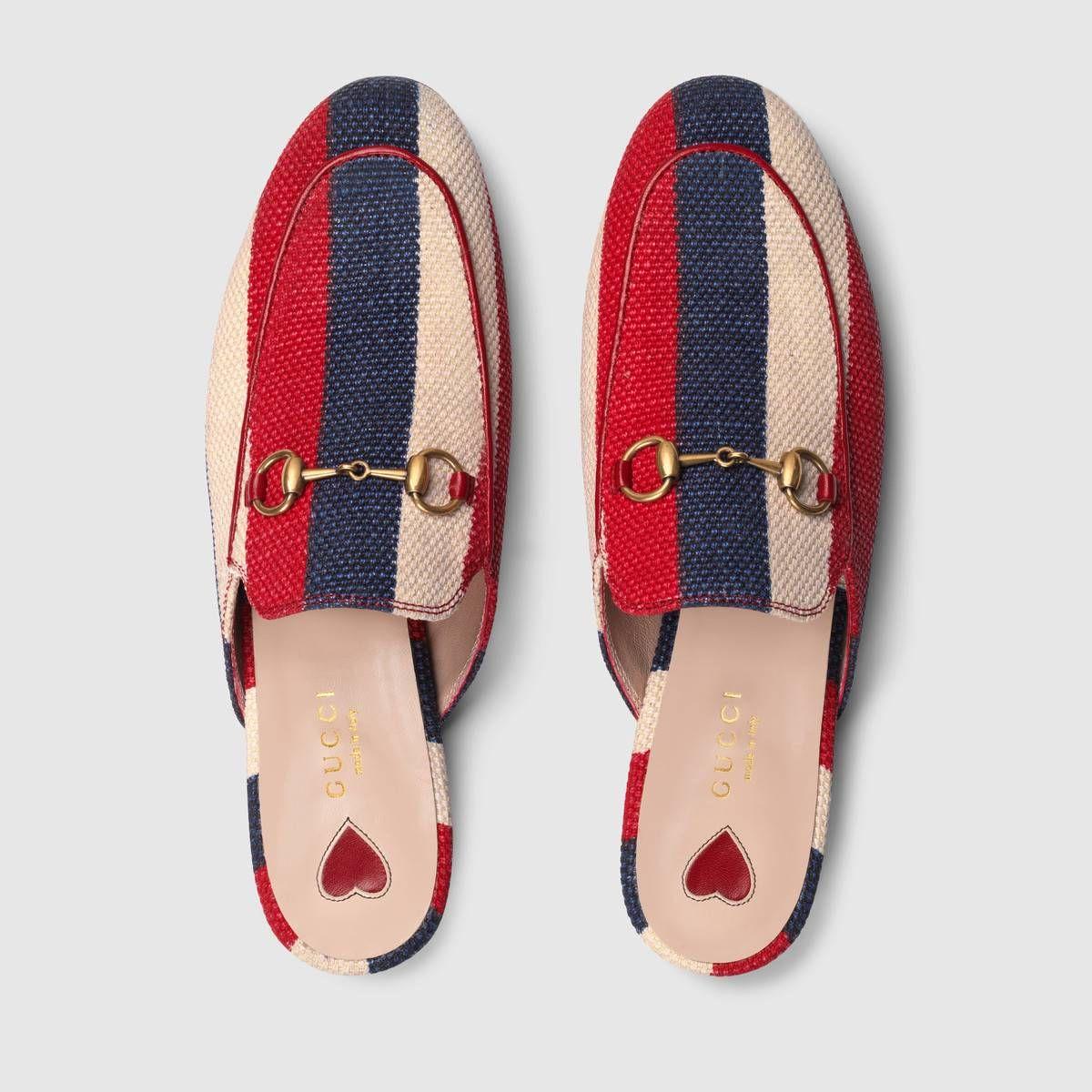 c8099e88e5 Shop the Princetown Sylvie canvas slipper by Gucci. Originally ...