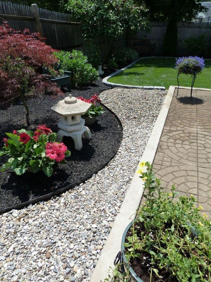 Back Yard Zen Garden With Rock And Rubber Mulch