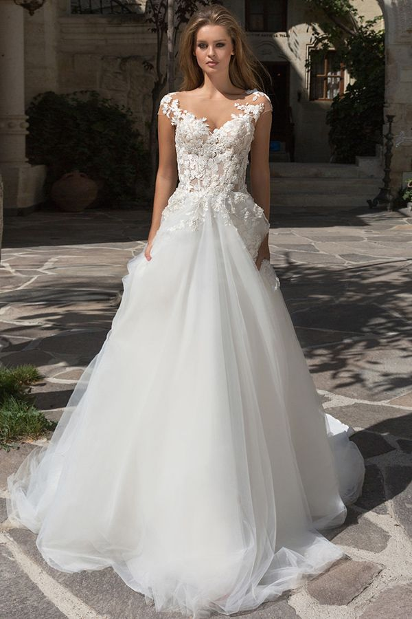 Glamorous Tulle Bateau Neckline See-through Bodice A-Line Wedding ...