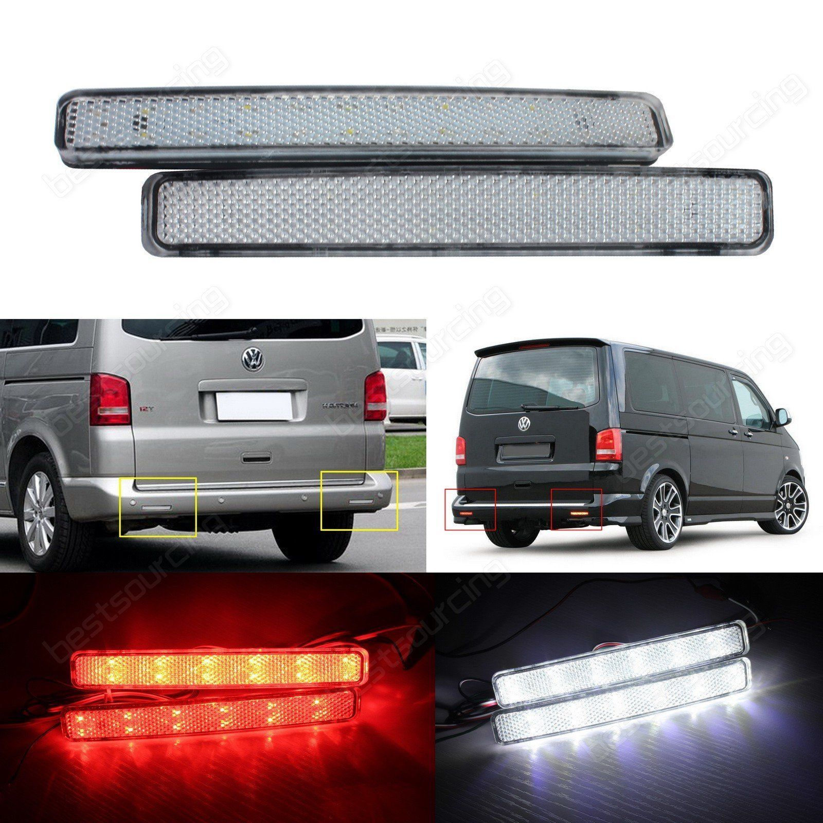 Vw Transporter T5 Led Rear Bumper Reflector Reverse Brake Stop Light Clear Lens Ebay Vw Transporter Transporter T5 Led