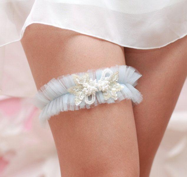 Something Blue Wedding Garter Tulle Beads And Pearls Bridal Toss Keepsake