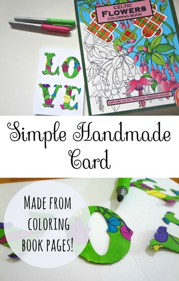 An Easy Homemade Card Idea Using Adult Coloring Book Pages