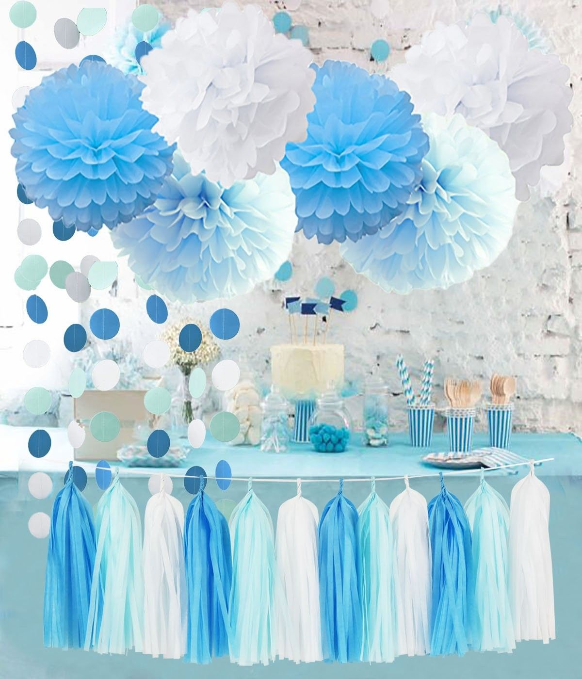Birthday Party Decorations Baby Blue White Turquoise Blue Tissue
