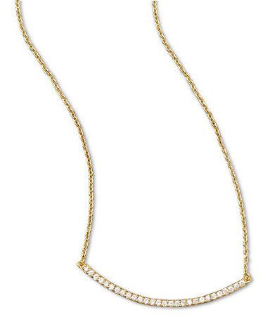 18 2 14 Karat Gold Plated Curved Cz Bar Necklace 14karat 14karatgold