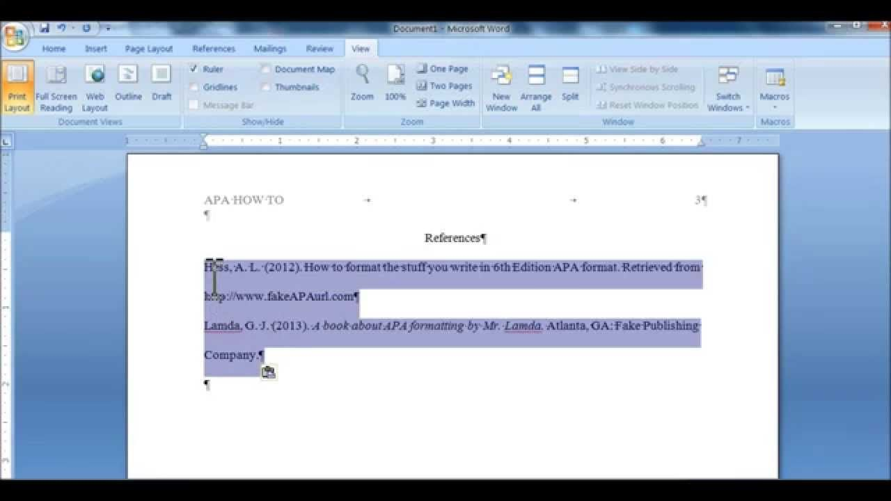 Set a Hanging Indent for APA References Page (or MLA Works Cited ...