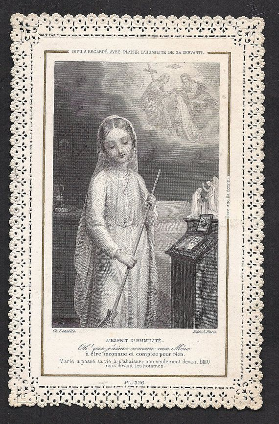 Antique French holycard:God looks with pleasure on the humility of His servant by Divinegiftshop, $18.00