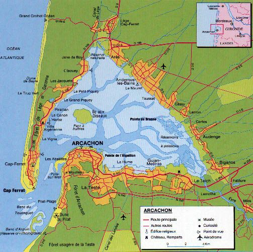 Bassin d Arcachon carte de France » Vacances - Arts- Guides Voyages