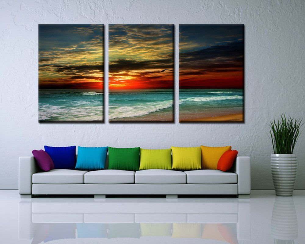 3 Panel Sunset Beach Canvas Print Painting Decorative Painting New Living Room Paintings Design Decoration