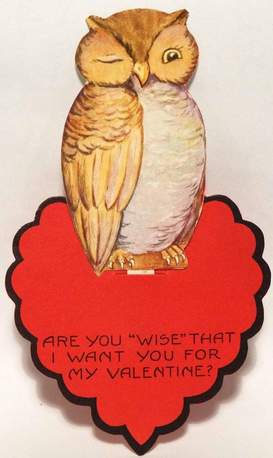 20s Wise Old Winking Owl Vintage Diecut Valentine Card Valentine