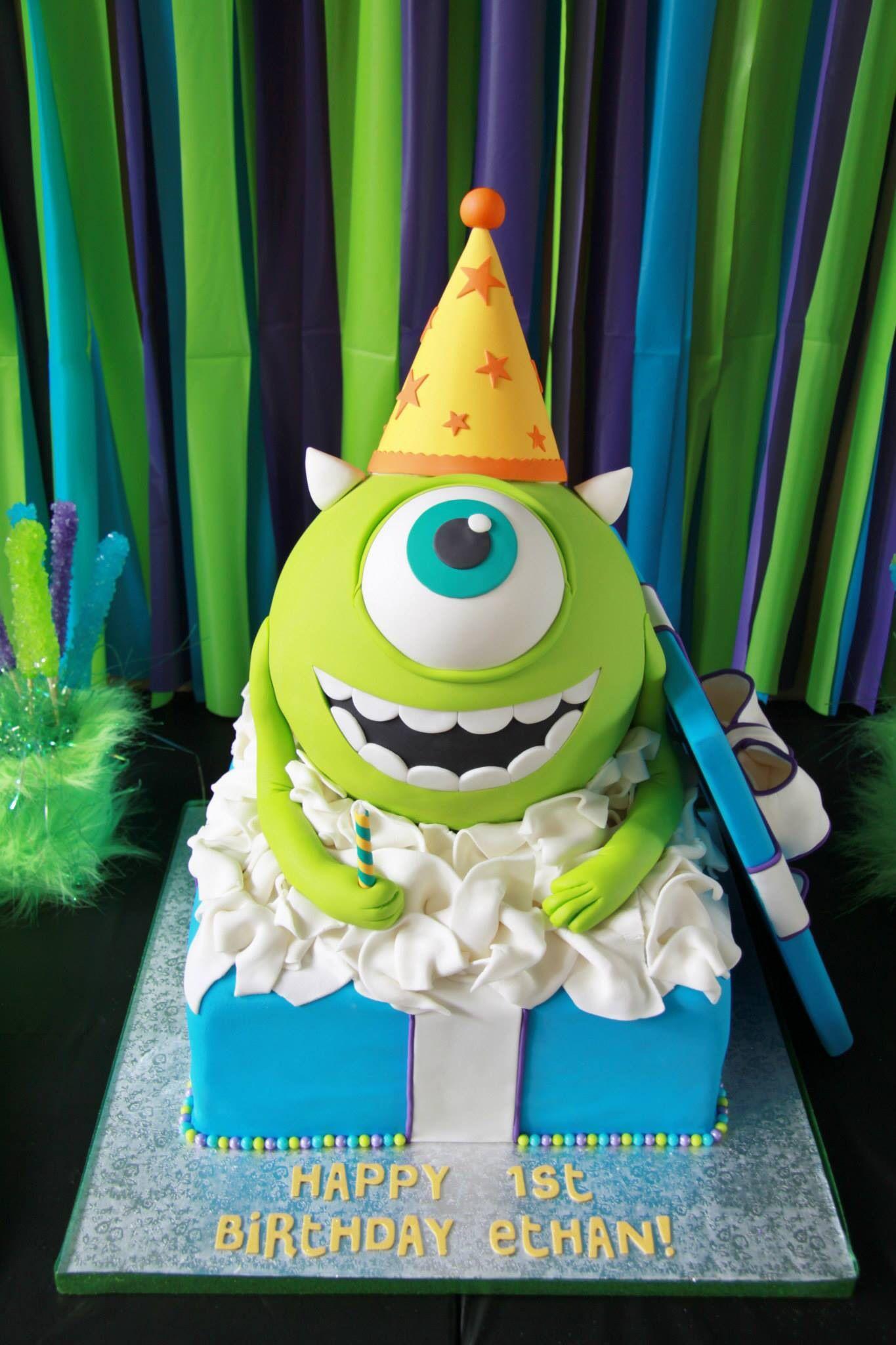 Wondrous Monsters Inc Mike Wazowski 1St Birthday Cake By Funny Birthday Cards Online Kookostrdamsfinfo