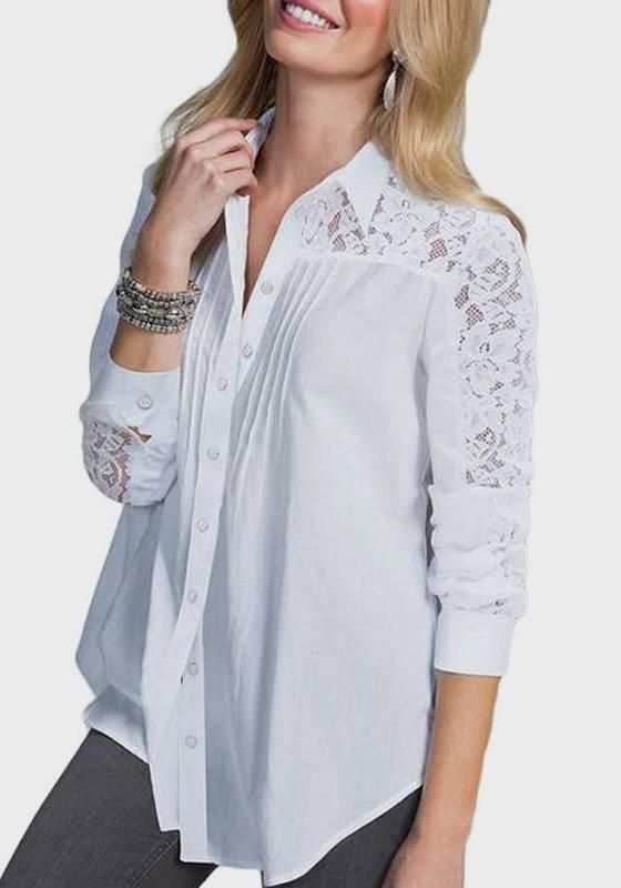 2e0945aee8db78 White Patchwork Lace Single Breasted Turndown Collar Office Worker/Daily  Blouse