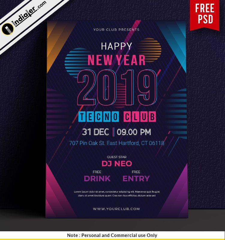 Free Happy New Year Techno Club Party Flyer Psd Template Party Flyer Happy New Year Design Happy New Year