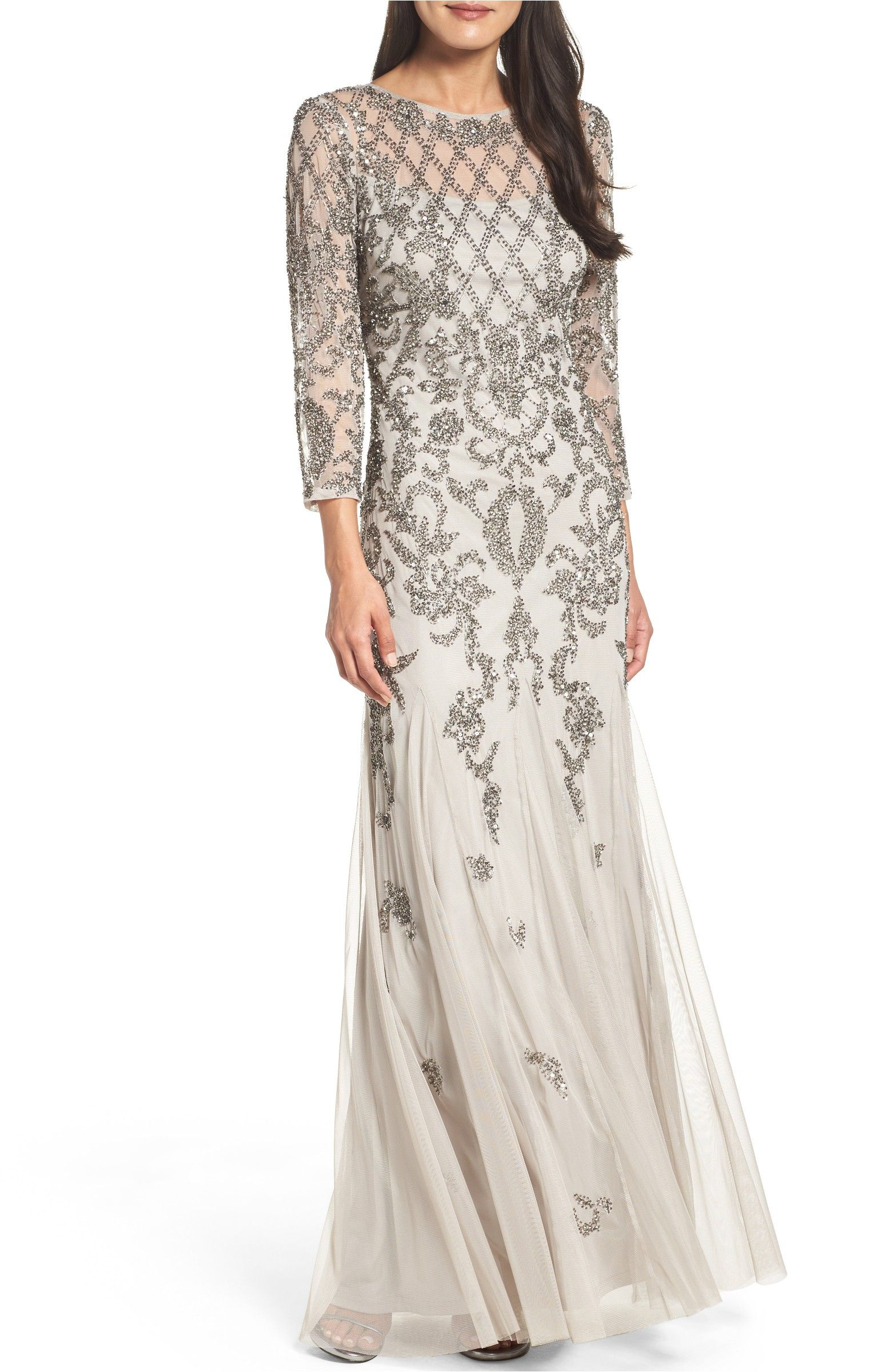 Mother of the bride wedding dresses nordstrom  Main Image  Adrianna Papell Beaded Mesh Gown  gowns  Pinterest