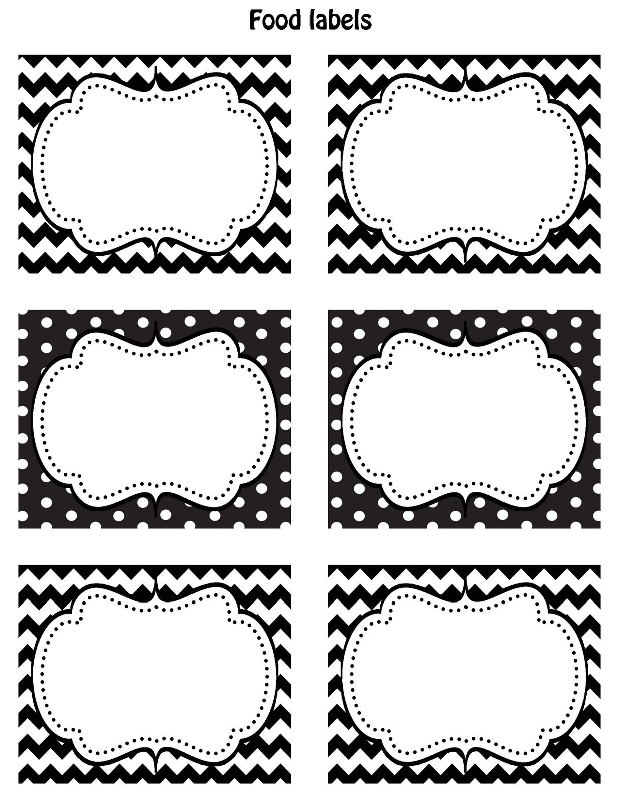 picture about Printable Food Labels called Who doesnt such as Black and White?? Therefore I concept I would