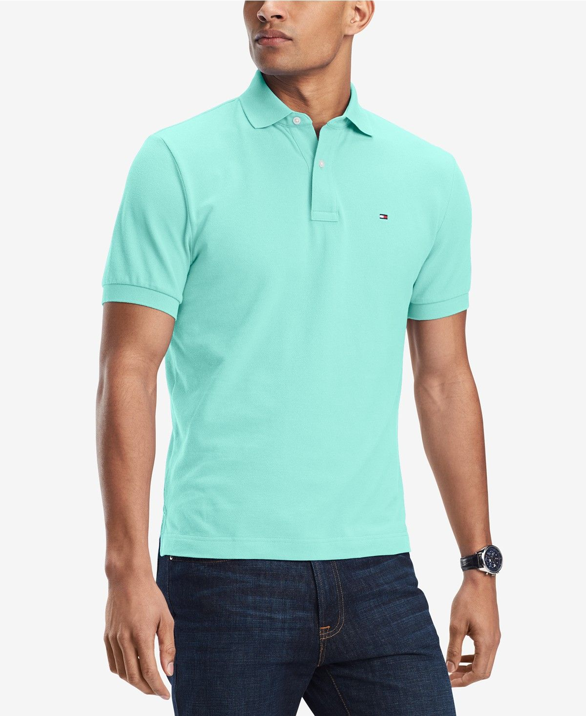 Tommy Hilfiger Men's Classic-Fit Polo SIZE XL! Beach Glass.