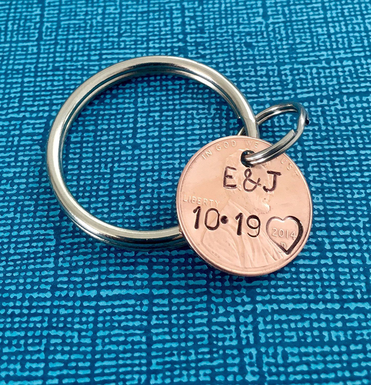 Amazon.com: Anniversary Gift - Lucky Penny - Gift for Boyfriend - Custom Penny - Penny Keychain - 1st Anniversary - Custom Keychain - Personalized: Handmade