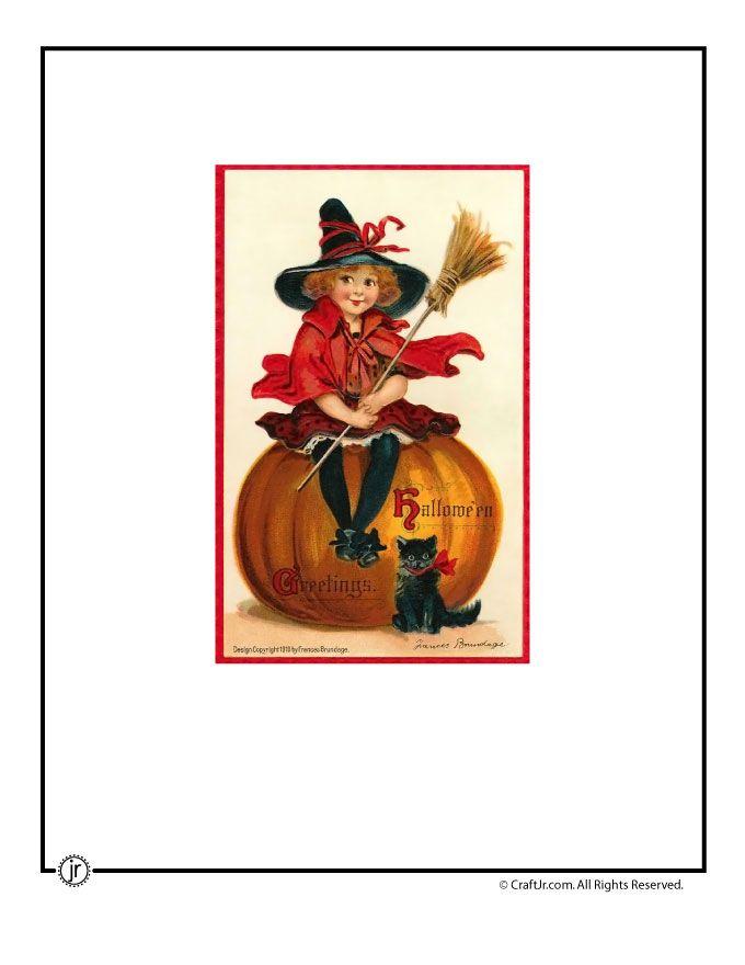 Cute Witch Girl Vintage Halloween Postcard Vintage Halloween Printables Vintage Halloween Cards Vintage Halloween