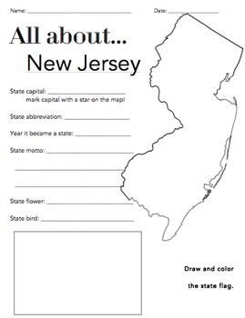 New Jersey State Facts Worksheet Elementary Version Social