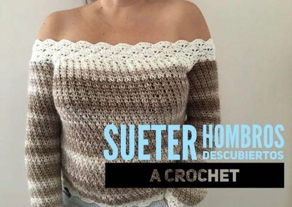 Suéter a crochet de hombros descubiertos DIY Como hacer un suéter tejido a  crochet con hombros 846b45d2c82