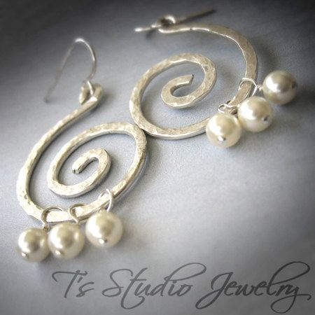 MOLLY   Hammered Sterling Silver Earrings with by TZTUDIO on Etsy, $45.00