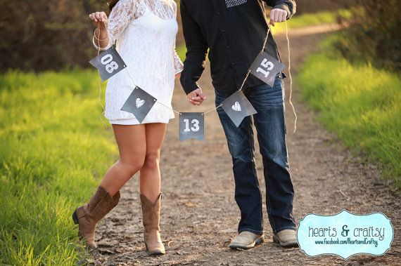 Save The Date Banner Chalkboard Style Wedding Sign Garland