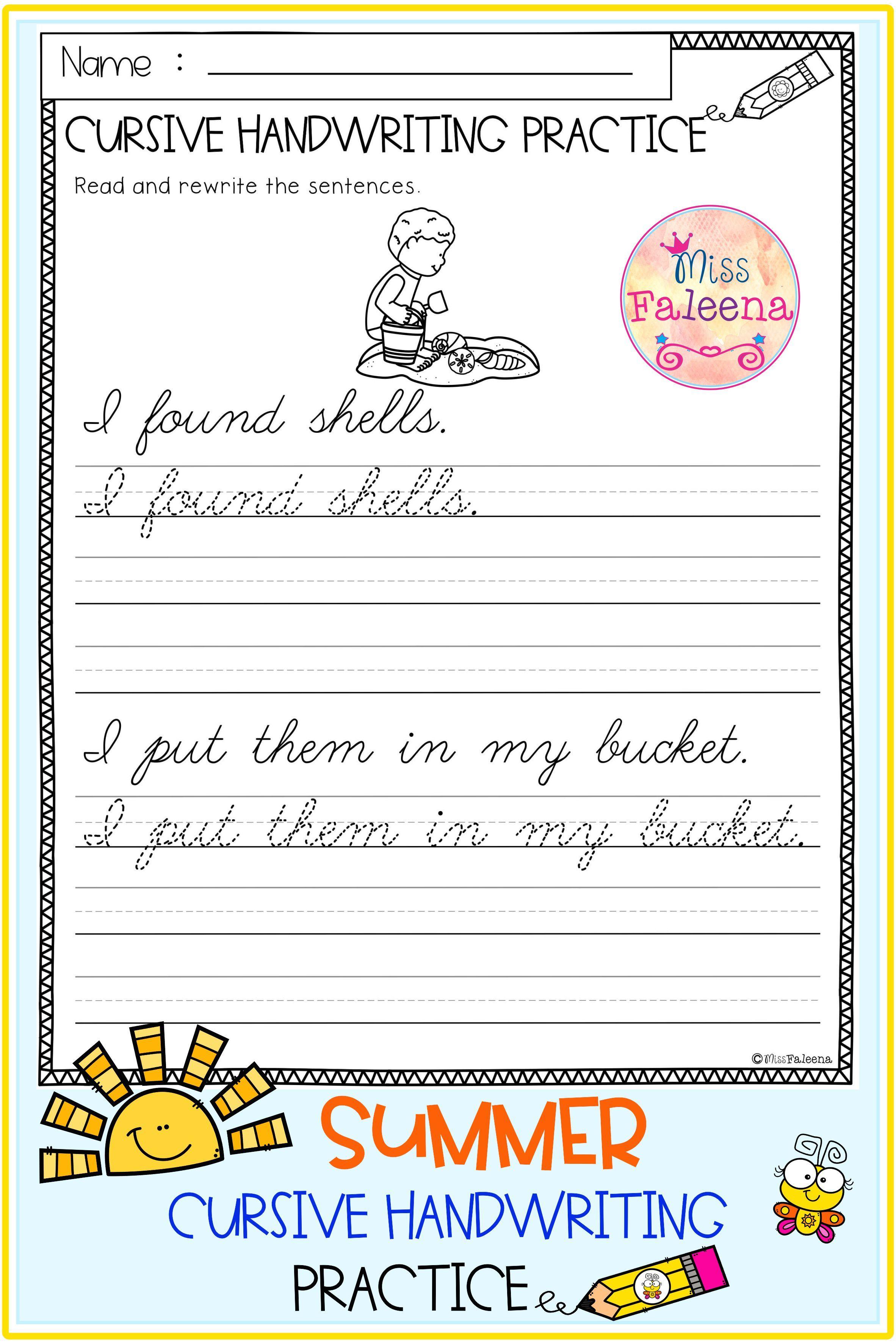 Summer Cursive Handwriting Practice Di