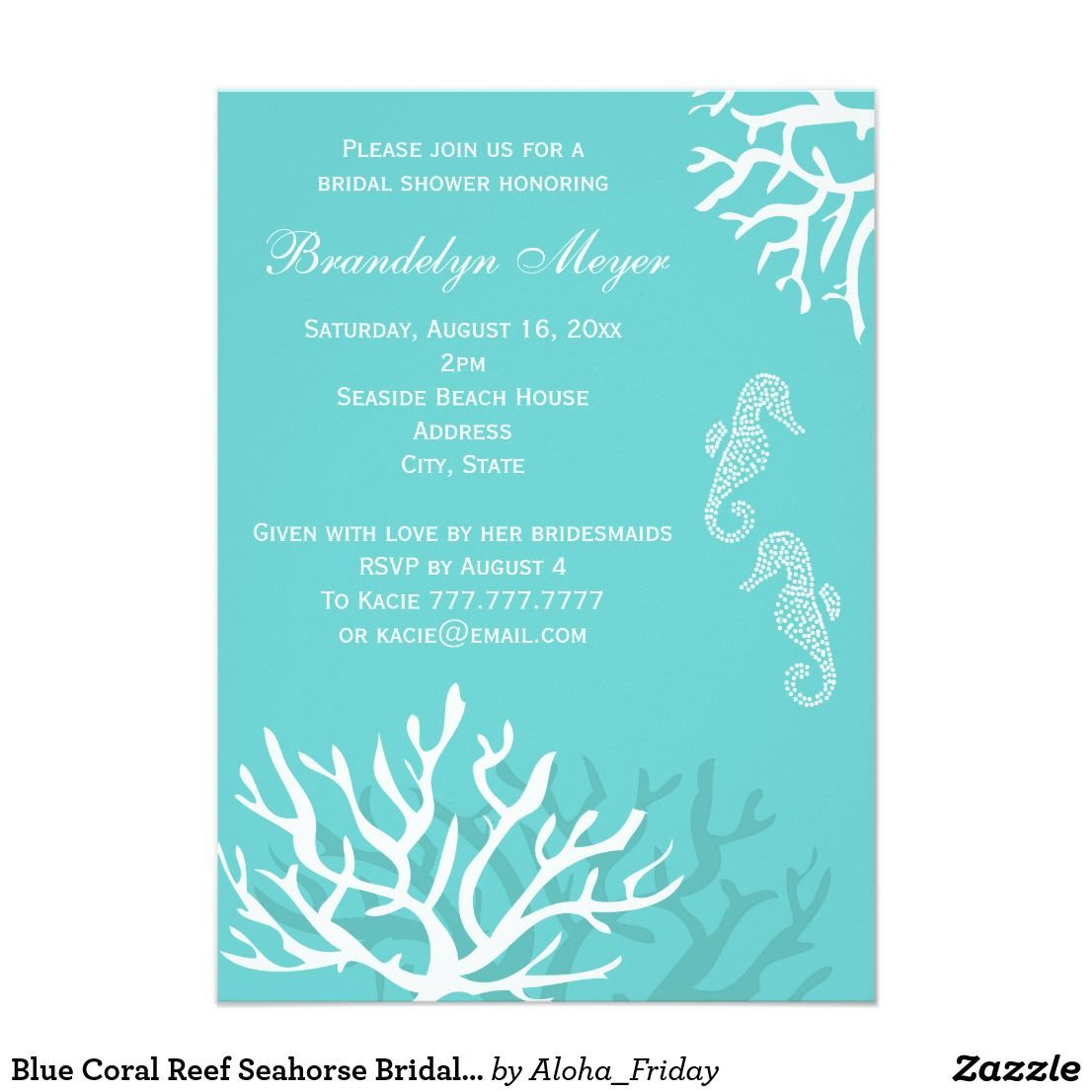 Blue Coral Reef Seahorse Bridal Shower Invitations This modern ...
