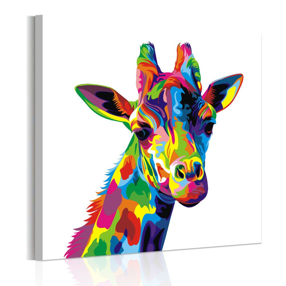 Unframed Abstract Wall Art Colored Giraffe Canvas Prints ...