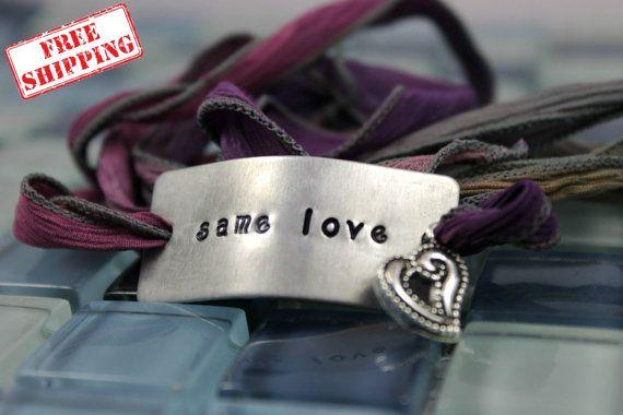 Custom Silk Wrap Bracelet  Same Love  Hand by BobbieJoDesigns, $29.99
