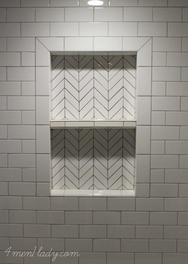 Herringbone tile mosaic made from regular subway tile for Small bathroom herringbone tile