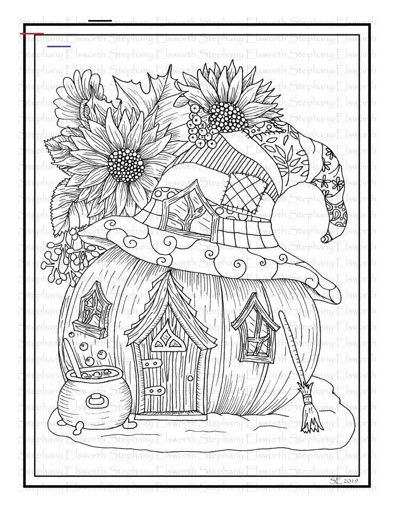 fall pumpkin fairy house printable coloring page  color
