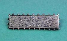 Victorian sterling Silver brooch  Art Nouveau Flower Heads rectangular shape