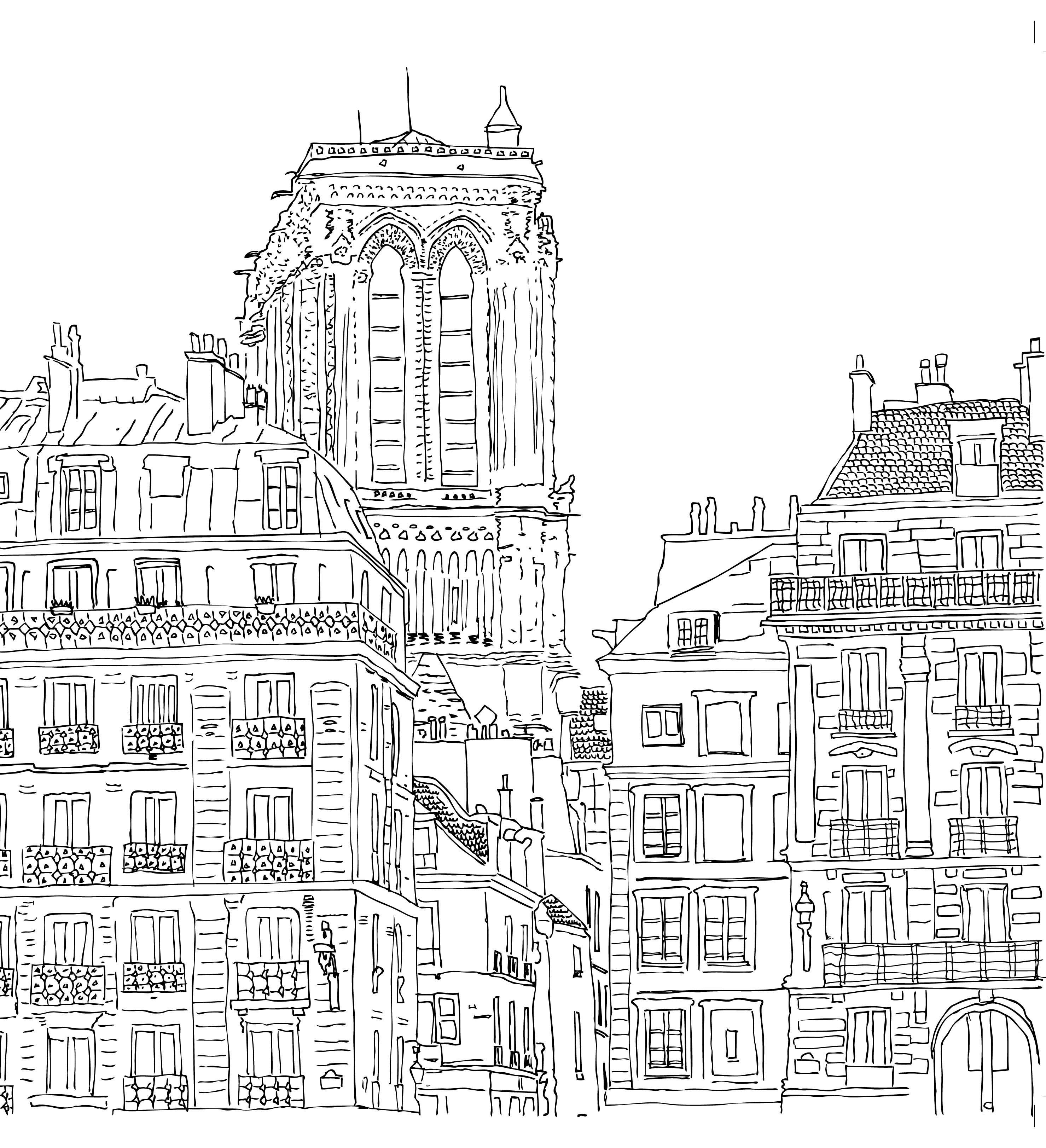 Paris coloring book for adults - Notre Dame Coloriage Adulte Anti Stress Paris Fashion Adult Coloring