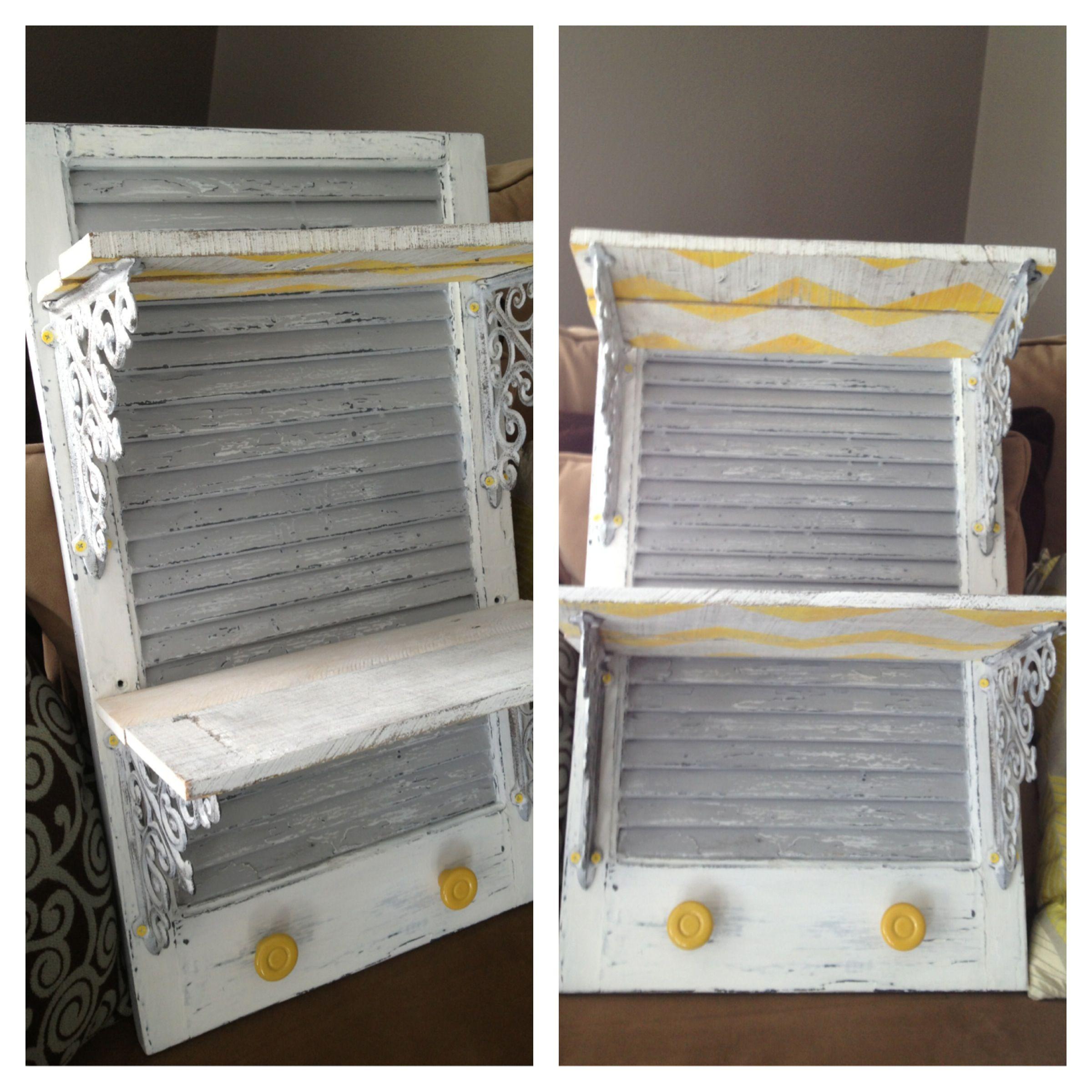 100 Year Old Shutter Repurposed Shelf Gray White Yellow For Sale Old Shutters Doors Repurposed Shutters Repurposed