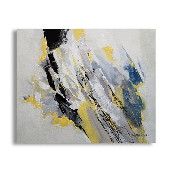 painting grey yellow blue painting white painting abstract painting moderne painting. Black Bedroom Furniture Sets. Home Design Ideas