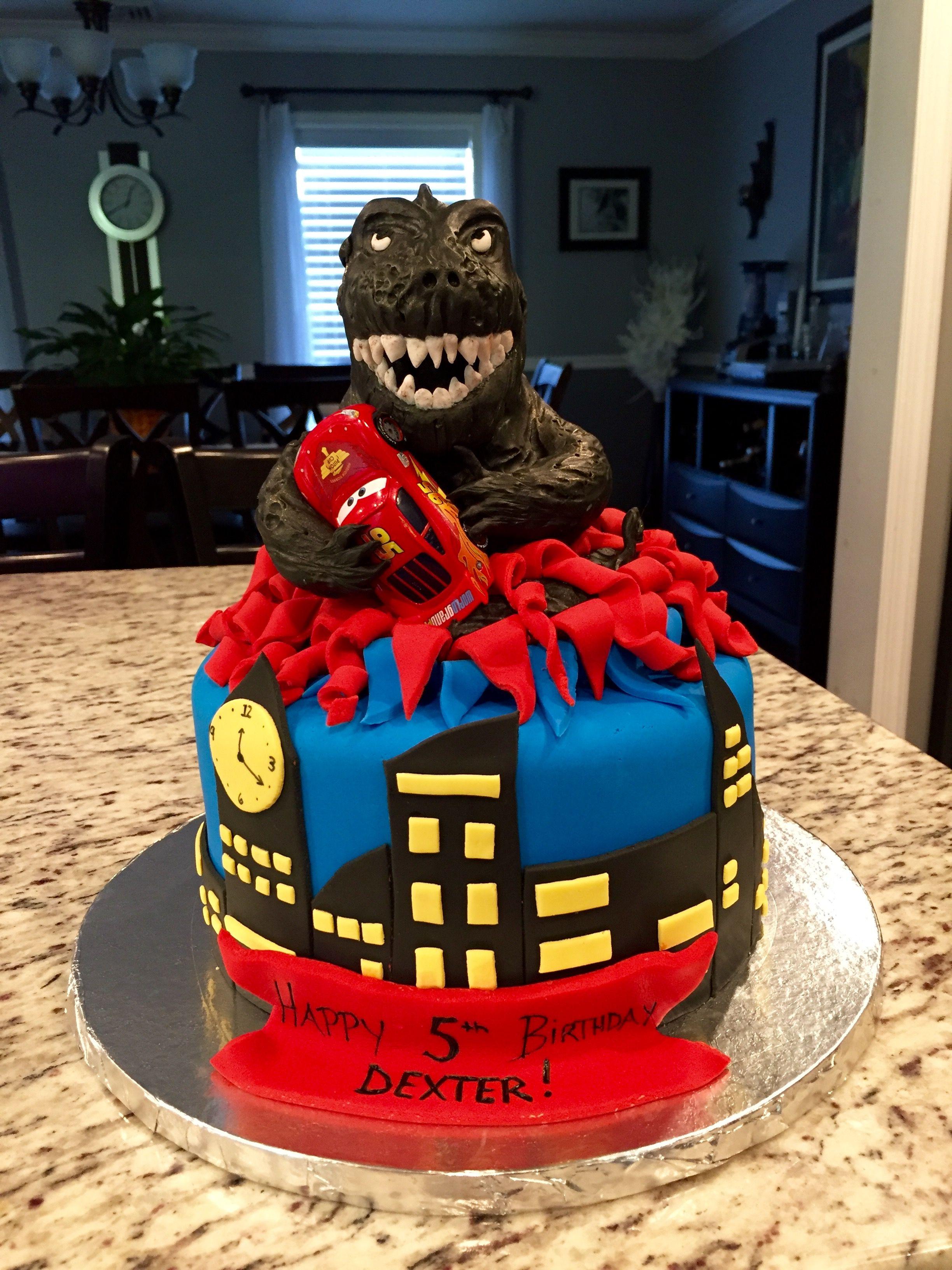 Godzilla holding lightening McQueen car birthday cake | Little ...