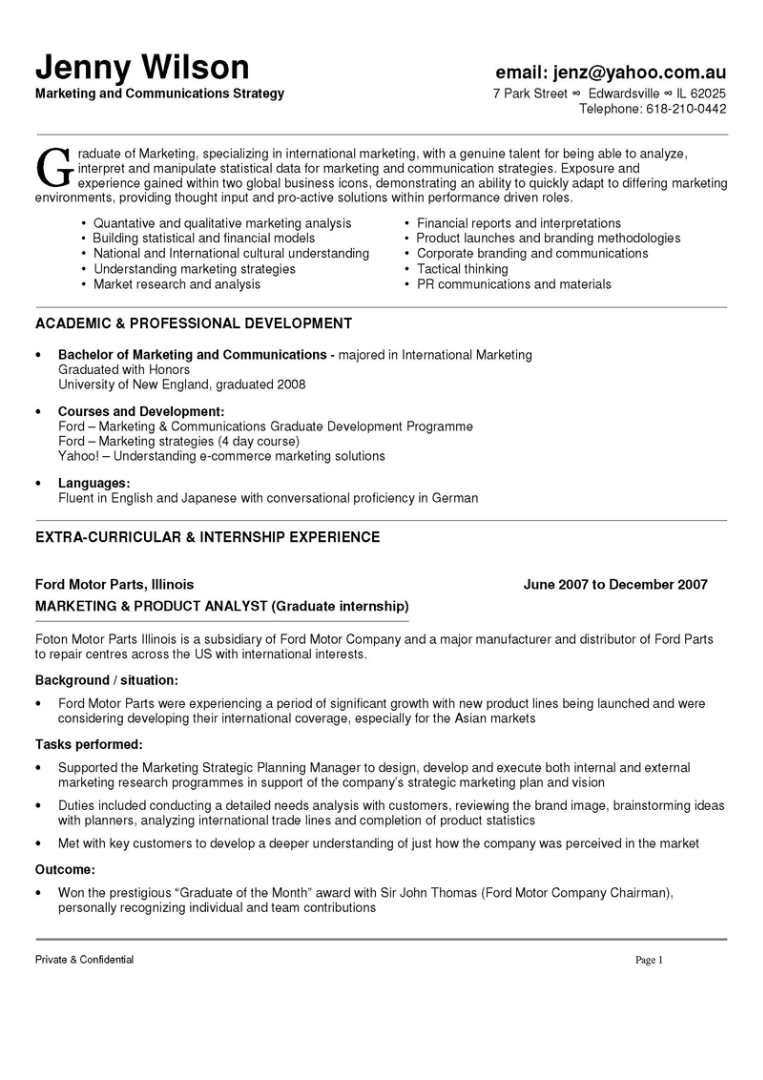 Marketing and Communications Resume Resume examples