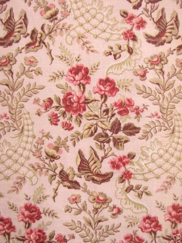 Antique French Fabric Rococo Pink Upholstery Cretonne
