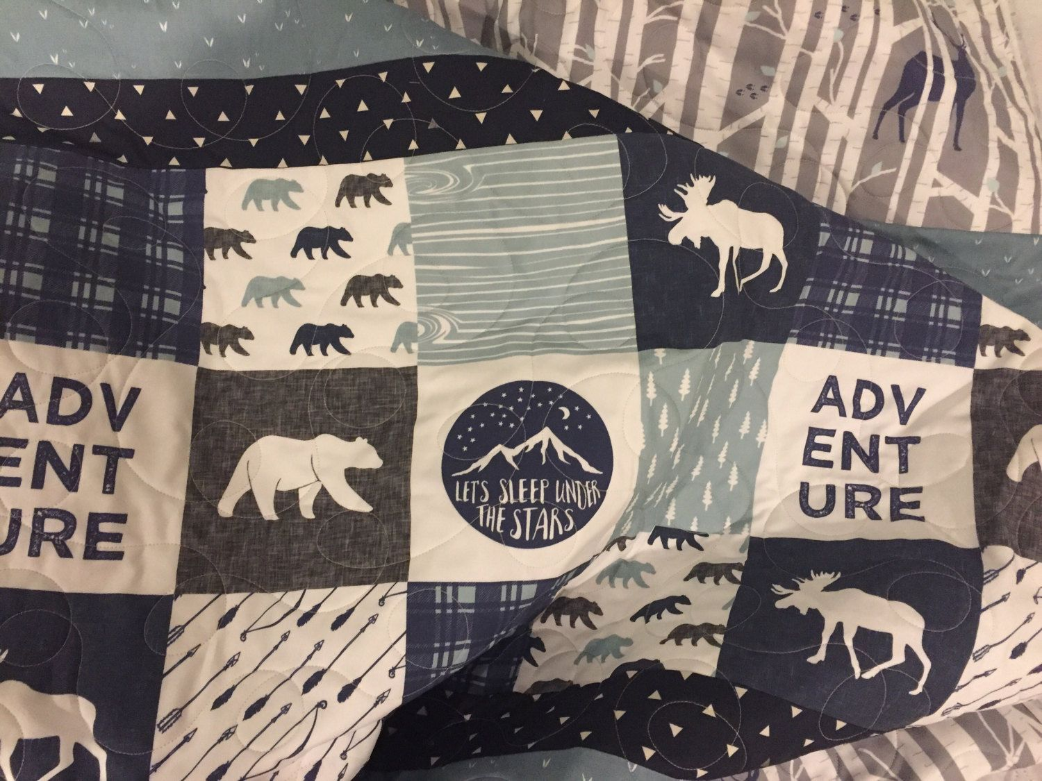 Adventure Baby Quilt Moose Deer Bear Nursery Rustic Woodland Navy Blue Gray