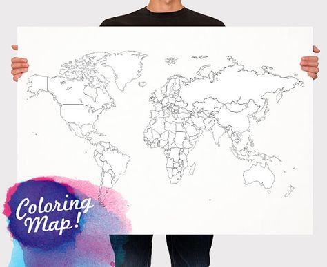 World Map Poster Coloring Map Countries Outline Kids By Macanaz