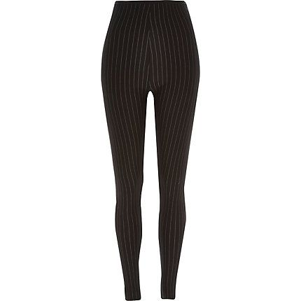 Black pinstripe ponte high waisted leggings £28.00 #riverisland
