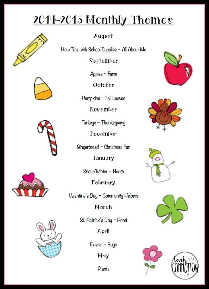Kindergarten Calendar Lessons : Yearly themes list to send out at the beginning of