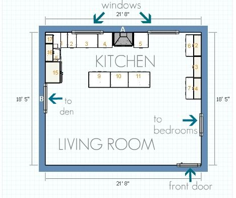 kitchendining room open floor plan dimensions - Kitchen And Dining Room Open Floor Plan