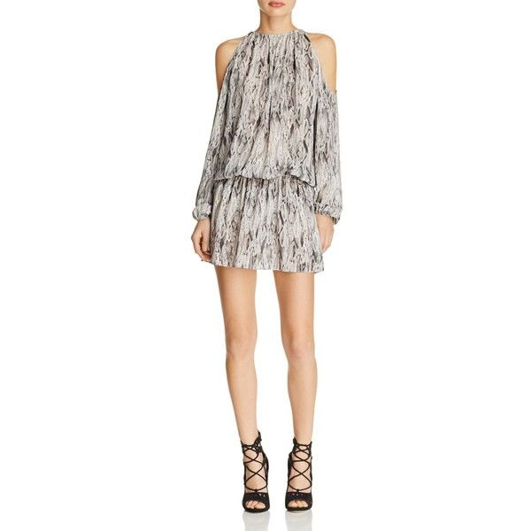 Ramy Brook Lauren Cold Shoulder Snake Print Silk Dress ($455) ❤ liked on Polyvore featuring dresses, snake multi, cut-out shoulder dresses, white cut out shoulder dress, snake dress, open shoulder dress and silk dress