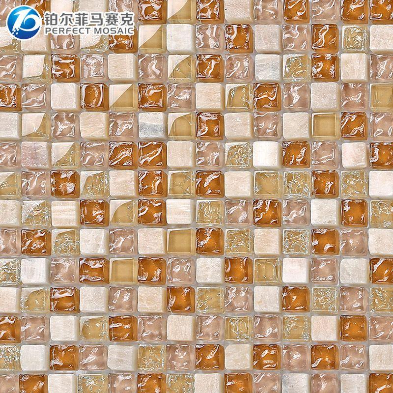 Stone Fruit Amalfi Platinum Crystal Glass Mosaic Tile Bathroom