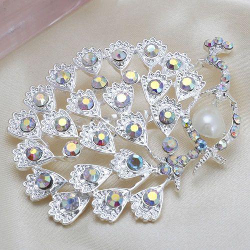 548af683f Fashion Hot Sale Silver Peacock Rhinestone Women Wedding Brooch Pins,Large  Animal Brooch For Ladies Dresses,Free Shipping