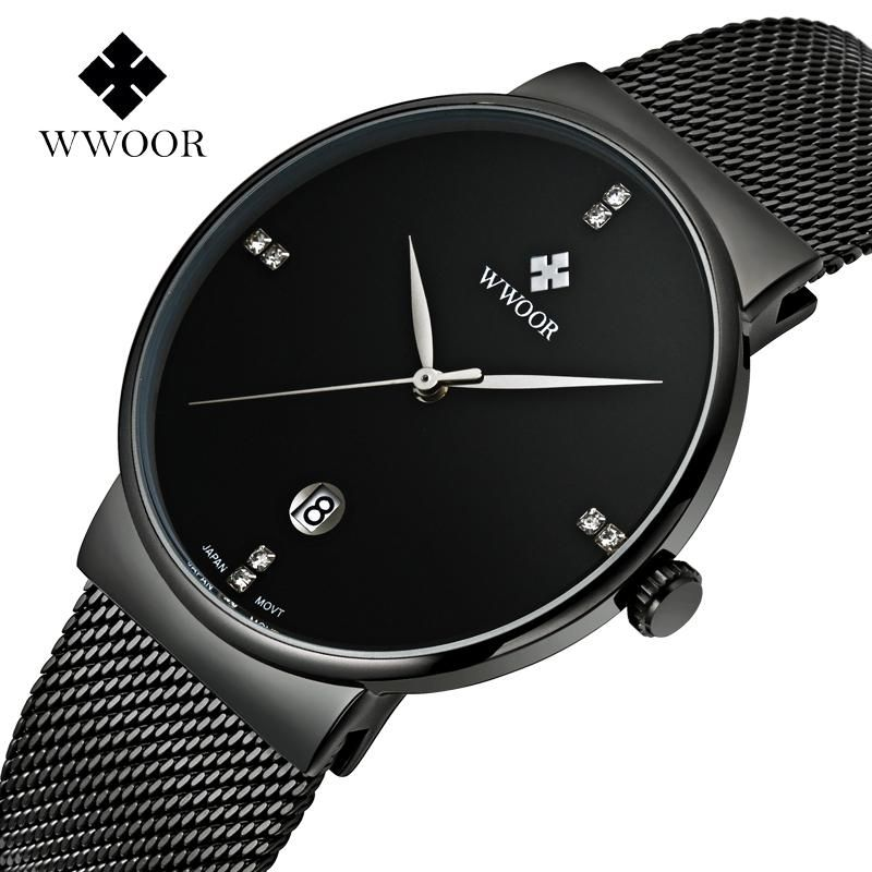 d504f433b2 Fashion Simple Stylish Luxury brand WWOOR Watches Men Stainless Steel Mesh  Strap Thin Dial Clock Man Casual Quartz-watch Black