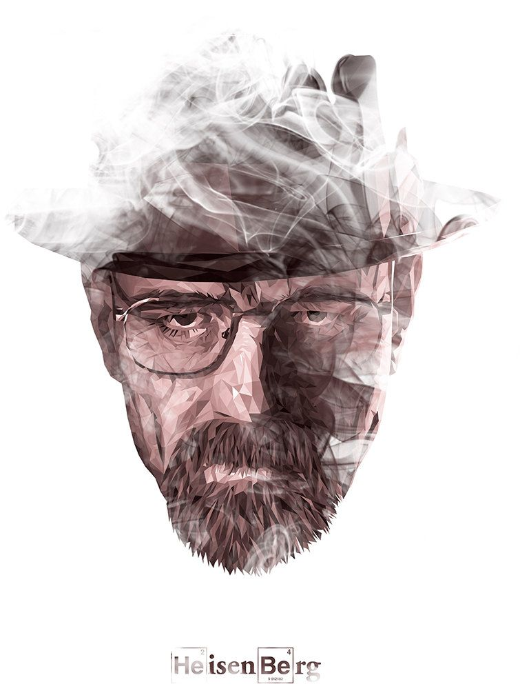 This graphic is unique because it  only uses triangles to comprise this photo of Walter.  I don't know if this is an effect or if it was made by scratch from various triangles but it's pretty edgy.  haha edgy.  The smooth smoke is also a nice juxtaposition to the hard angles of his face, it makes the graphic much more mysterious.